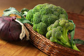Broccoli in basket — Stock Photo