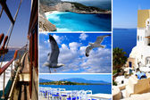 Set of summer photos of Cyclades islands, Greece — Stock Photo