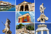 Set of greek historical citys (Athens, Crete island, Delphi) — Stock Photo