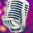 Microphone retro on purple disco background — Stock Photo
