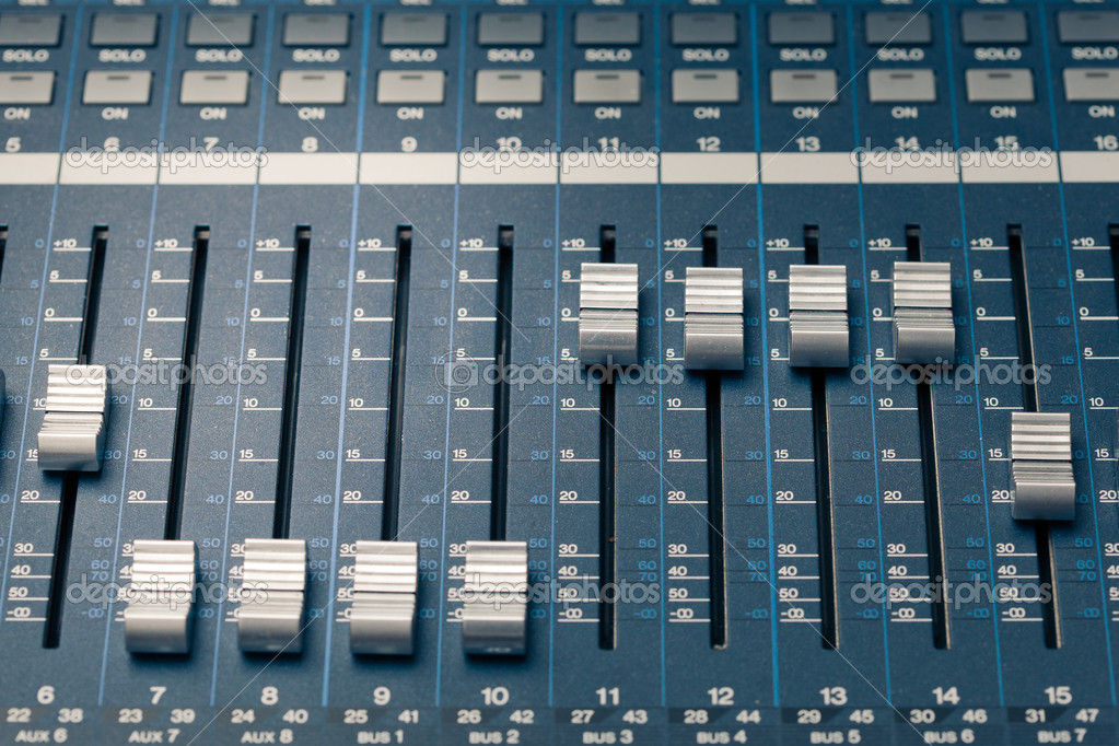 Digital studio mixer faders — Stock Photo #12044730