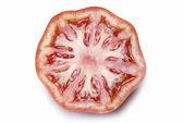 Hälfte eine tomate, die isoliert weiß. — Stockfoto