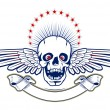 Skull with wings and ribbon — Imagen vectorial