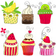 Set of cute retro cupcakes — Stock Vector