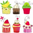Set of cute retro cupcakes — Image vectorielle