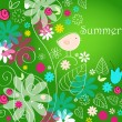 Cute summer text illustration with bird — Stock vektor