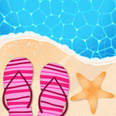Flip-flops and starfish by the seaside — Stock Vector