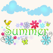 Cute summer text illustration with bird — Stock Vector