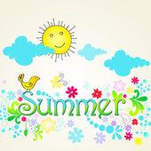 Cute summer text illustration with bird — Stock Vector