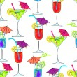 Cute seamless cocktails background — Stock Vector