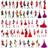 Conjunto de chicas elegantes — Vector de stock