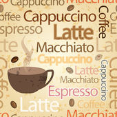 シームレス、ビンテージ コーヒー テーマ タイポグラフィ背景 — ストックベクタ