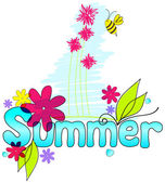 Cute summer text illustration with bee — Stock Vector
