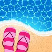 Flip-flops by the seaside — Stock Vector