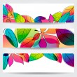 Colorful autumn leaves banners — Stock vektor