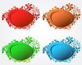 Conjunto de cuatro burbujas de discurso floral moderno elegante — Vector de stock