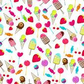 かわいいシームレスなレトロなキャンディーの背景 — ストックベクタ
