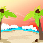 Cute tropical beach — Stock Vector