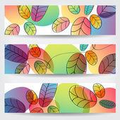 Kleurrijke herfstbladeren banners — Stockvector