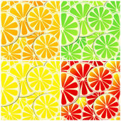 Set of four seamless citrus fruit background — Stock Vector
