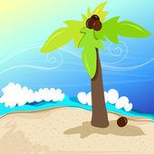 Cute tropical beach — Stock Vector
