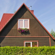 Red morning village home roof — Stock Photo