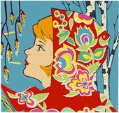 Wiosna dziewczyna plakat — Zdjęcie stockowe