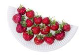 La mitad de la placa con fresas — Foto de Stock