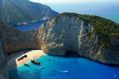 Boats and shipwreck beach at Zakynthos island — Stock Photo
