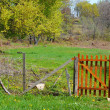 Rural landscape with fence - Stock Photo
