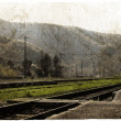 Vintage picture of old railway - Stock Photo