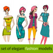 Set of illustrated elegant stylized fashion models — Stock Photo