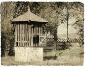 Vintage picture of old fountain — Stock Photo