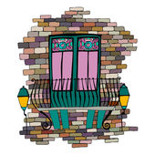 Illustration of old brick wall with balcony — Foto de Stock