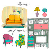 Set of illustrated interior elements — Stock Photo