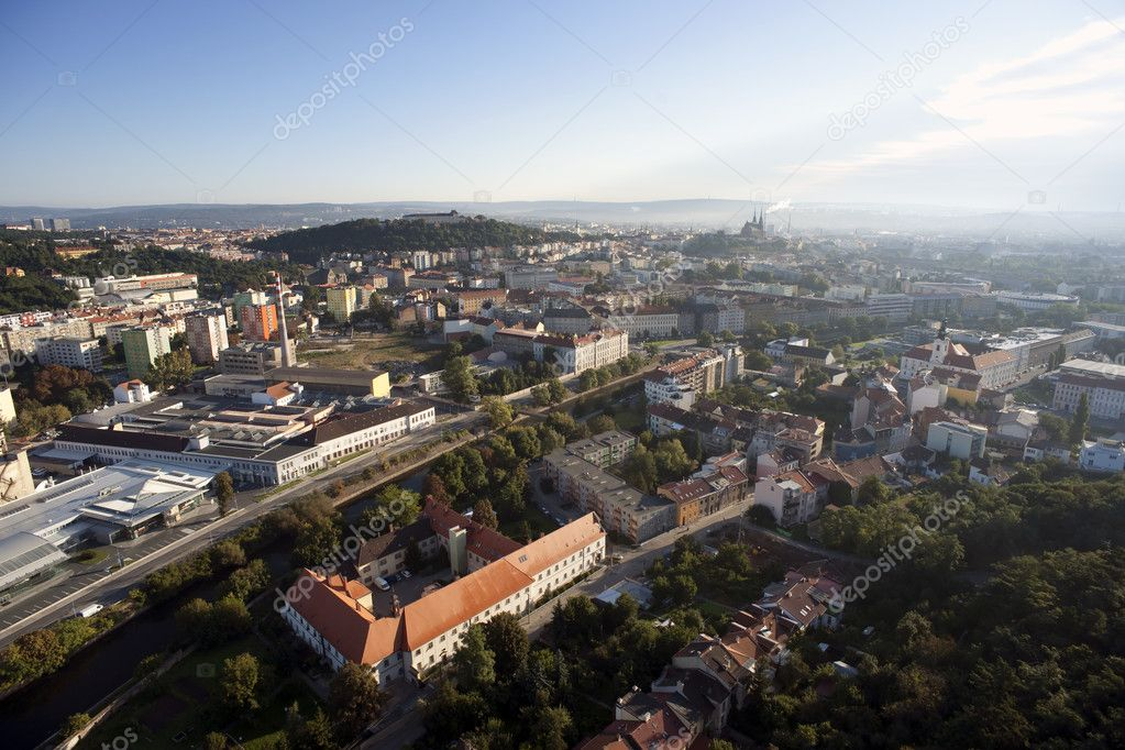 Highly detailed aerial city view, Spilberk Castle, Cathedral of St. Peter and Paul, Brno, Czech Republic — Stock Photo #11819372