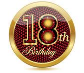 Golden 18 Th Birthday button.Vector — Stock Vector