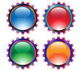 Grungy glossy gears.Vector — Stock Vector