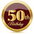 Stock Vector: Golden 50 Th Birthday button.Vector