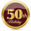 Golden 50 Th Birthday button.Vector — Stock Vector #11301345