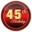 Golden 45 Th Birthday button.Vector — Stock Vector
