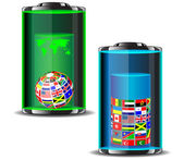 Flags of the world in batteries.Vector — Stock Vector