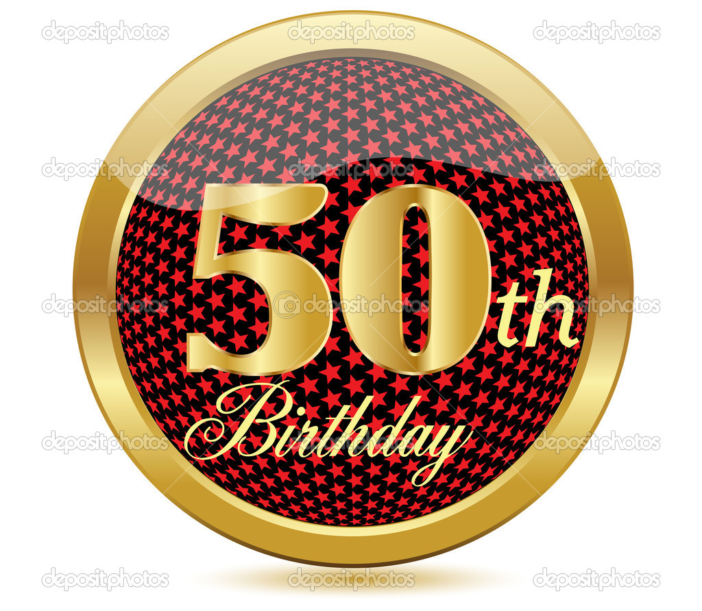 50 years anniversary, happy birthday golden icon with diamonds, vector illustration  Stock Vector #11301345