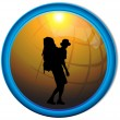 Silhouette of a traveler tourist button.Vector — Imagen vectorial