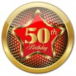 Golden 50 Th Birthday button.Vector — Stock Vector