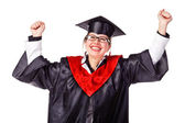 Happy female graduate with arms up — Stock Photo