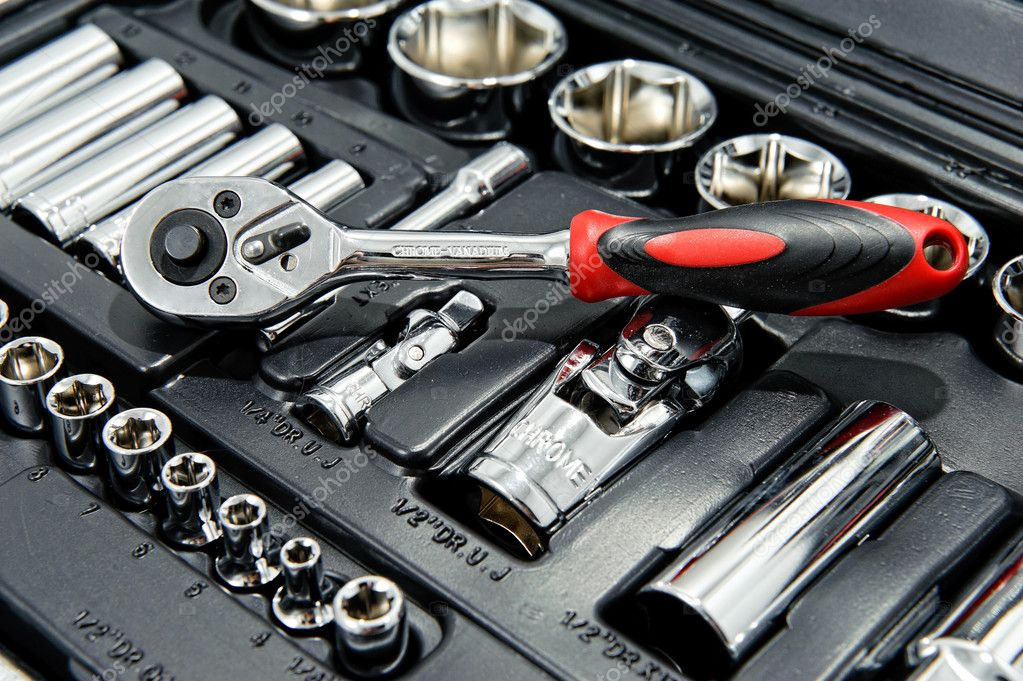 Close up shot of kit of metallic tools as background — Stock Photo #10959906