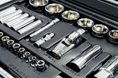 Kit of metallic tools as background — Stock Photo