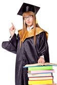 Linda mujer joven en una toga de graduación — Foto de Stock