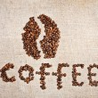 Stock Photo: Coffee beon old burlap canvas